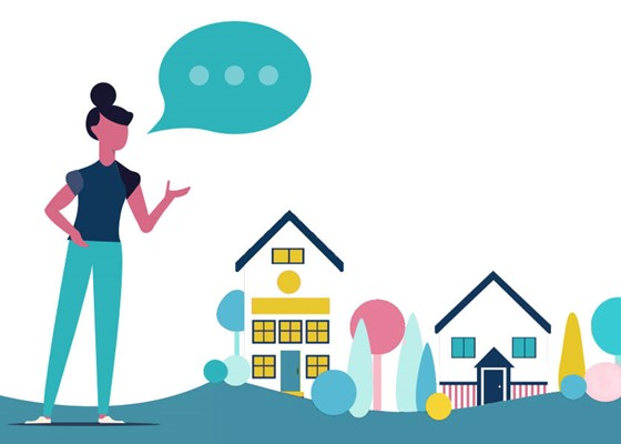 Woman talking to express her opinion, surrounded by houses