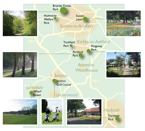 Illustrated map showing location of Ashfield parks & images from each