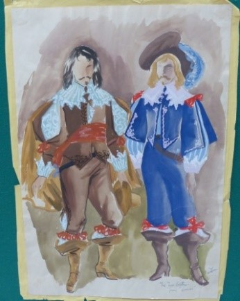 Watercolour painting of cavalier style costumes by designer Carl Toms