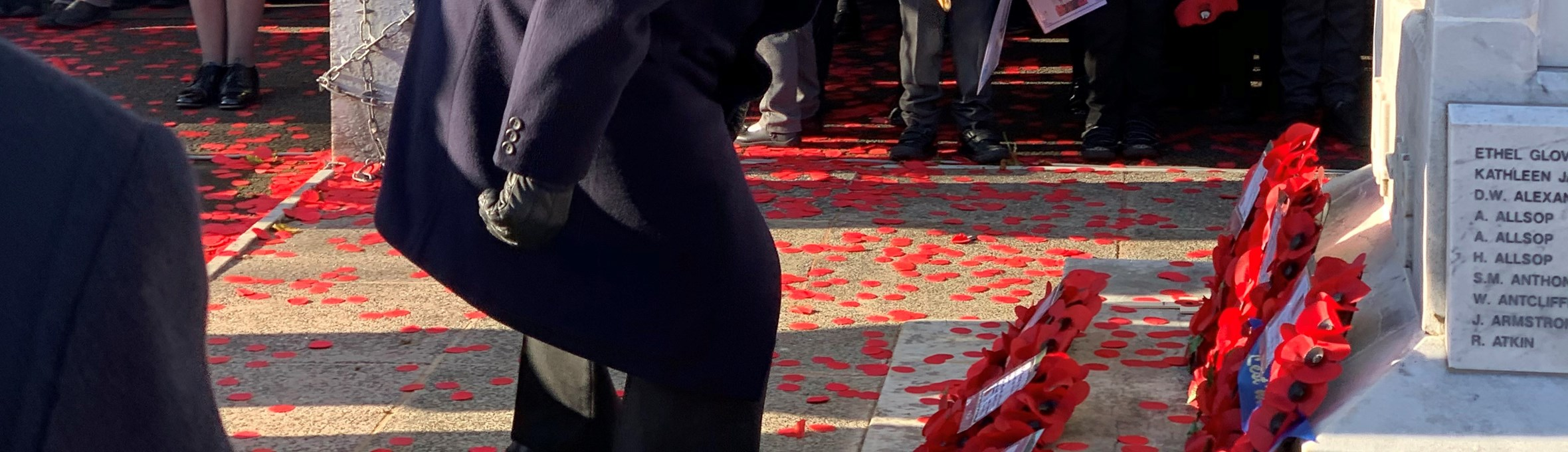 The late Cllr Anthony Brewer, Former ADC Chairman laying a wreath at last year's Remembrance Day.