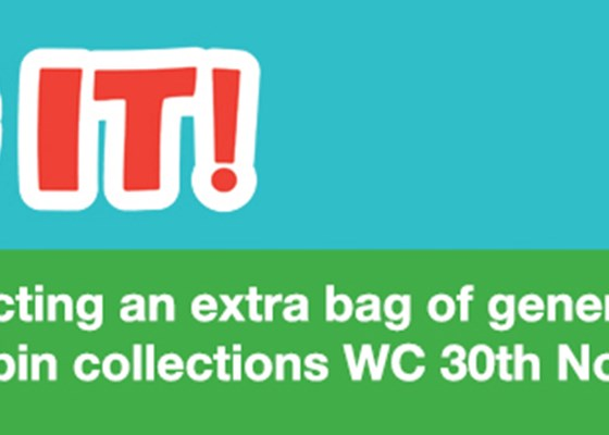 Bag It - we will be collecting an extra bag of general waste with your red lidded bin wc 30 November