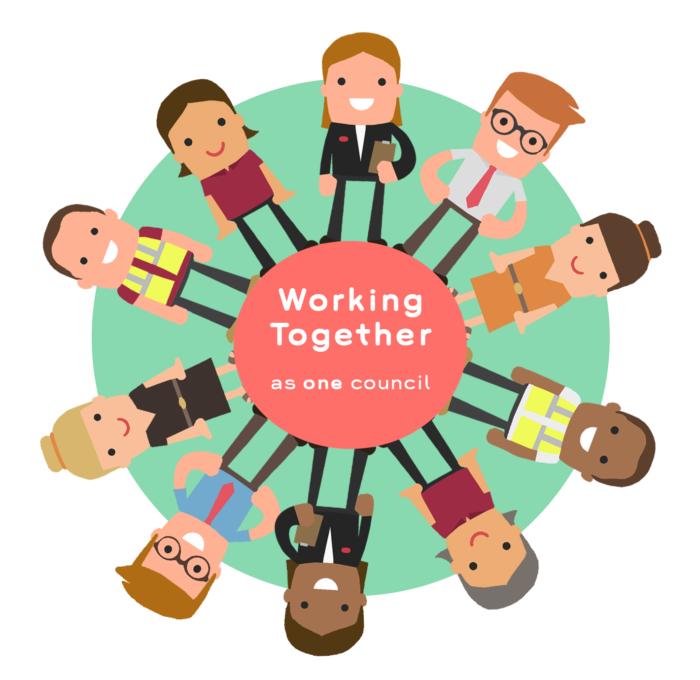 Cartoon style logo with people in a circle around the words Working Together as one council